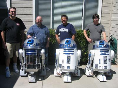 Ryan, Chris, Gerrard and Ed the host - and of course their R2's